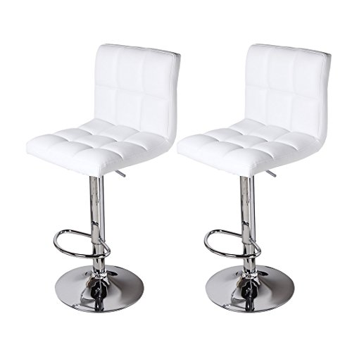 Circlelink White Modern Pu Leather Swivel Adjustable Hydraulic Bar Stools Square Counter Height Chairs, Set of (Adjustable Height Square Stool)