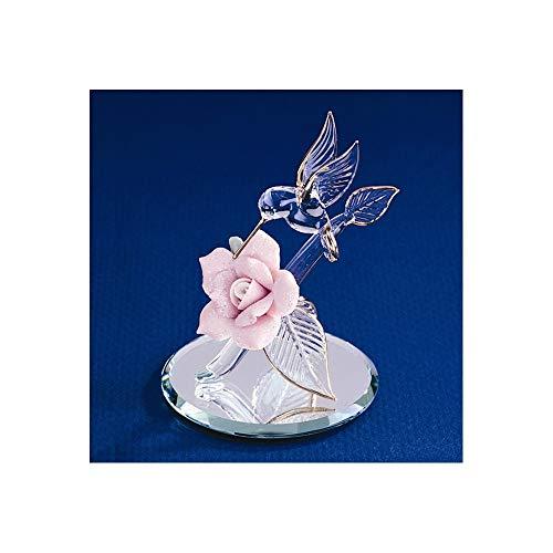 Goldia Hummingbird & Porcelain Rose Glass Figurine from Goldia