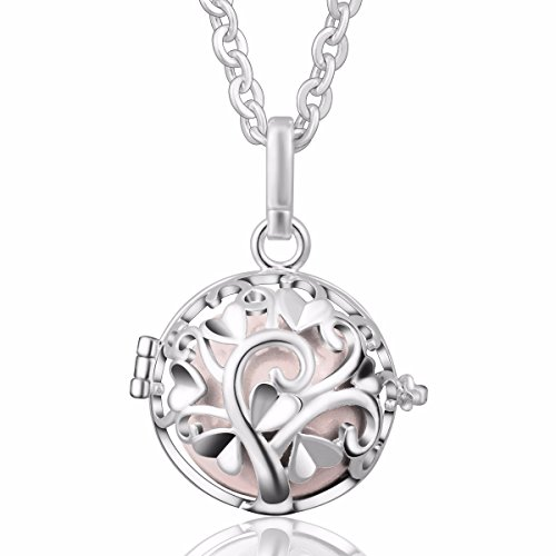 EUDORA Harmony Bola Tree of Love Angel Chime Caller Pendant 20mm Musical Chime Prayer Bell 30'' Necklace Peach
