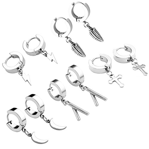 Zysta 5 Pairs Huggie Dangle Earring 18G Cute Sticks Corss Feathers Flash Moon Shape Mini Charms Stainless Steel Hoop Ear Studs
