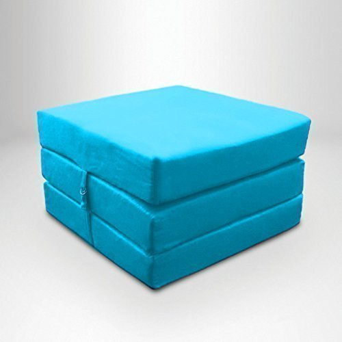 Turquoise Water Resistant Fold Out Z Bed Cube Mattress with Fastening Ready Steady Bed