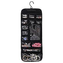 WODISON PU Leather Travel Hanging Jewelry Roll Up Bag Case Organizer Holder