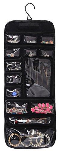 wodison pu leather travel hanging jewelry organizer roll up bag earring case holder black for. Black Bedroom Furniture Sets. Home Design Ideas