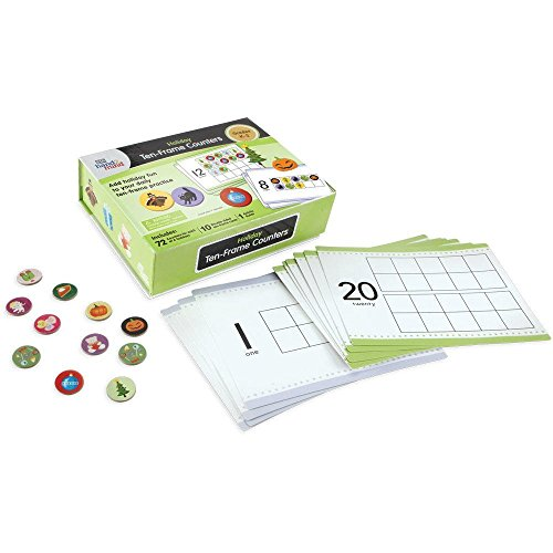 Holiday Ten-Frames Counters For Kids (Ages 5+) | Math Counters for Counting and Sorting (288 Counters & 10 Double-Sided Cards) -