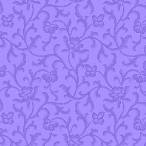 - Maywood Studio Emma's Garden Tonal Scroll Purple Fabric by The Yard