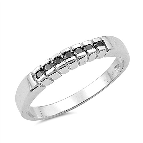 Black Simulated CZ Wholesale Men's Wedding Ring New .925 Sterling Silver Band Size 10