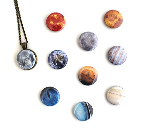 Interchangeable Solar System Galaxy Necklace (2. Antique Bronze Tone with Pluto)
