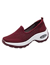 Jesper Women Lightweight Air Cushion Mesh Vamp Sport Shoes Breathable Fashion Slip On Running Sneakers