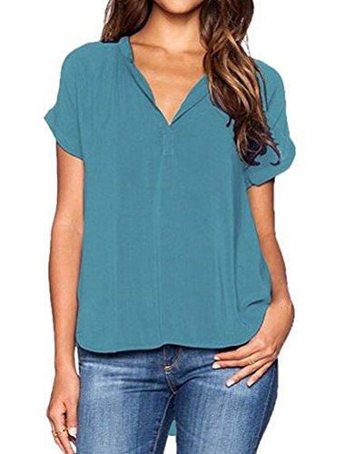 Courte Shirt Sexy LAEMILIA Hauts Casual Manche de Soie Femmes Col Chemise T Blouse Vert Et Uni Elgant Shirts V Mousseline Tops Eqvq0wp4