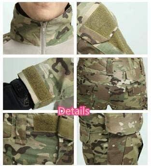 Coldstar Tactique Militaire Uniforme V/êtements Bataille Combat Uniforme de Camouflage de Chasse V/êtements T-Shirt et Pantalon avec genouill/ères