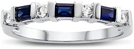 3x2mm Created Sapphire and Created White Sapphire Band Ring