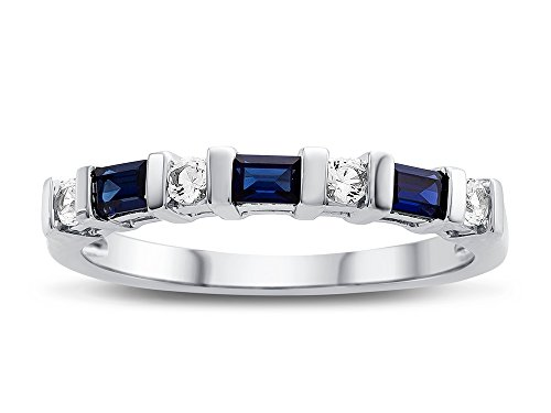 (Finejewelers 3x2mm Baguette Created Blue Sapphire and Created White Sapphire Band Ring Size 5)