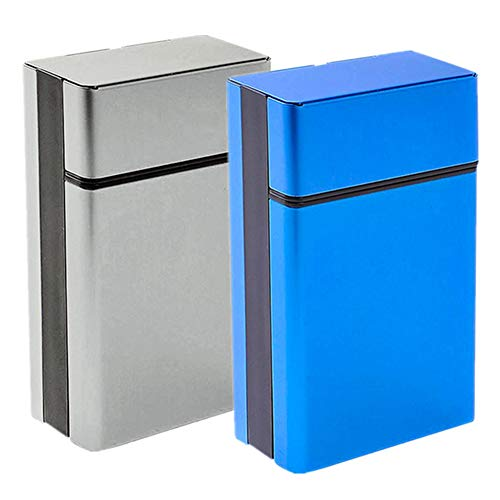 - Cigarette Case & Dispensers 2 Pcs/Pack King Size (20 Capacities) Sturdy Cigarette Holder Metal Exterior and Plastic Inner Cigarette Accessories