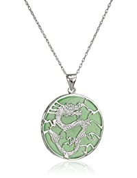 Rhodium-Plated Sterling Silver Green Jade Large Dragon Pendant Necklace, 18""