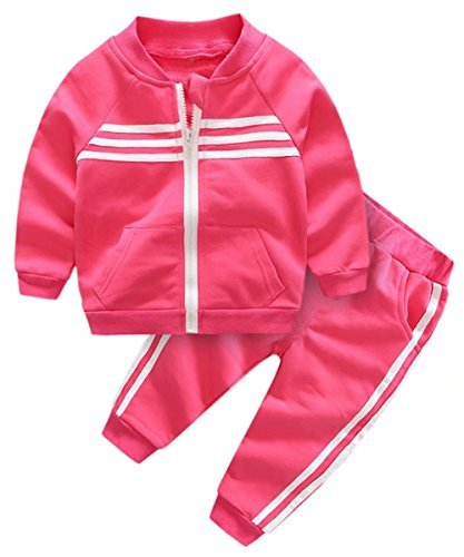 Kids Outfit, Varsity Track Jacket with Stripes & Sports Jogger Sweat Pants Set Sweat Suit Tracksuit for Toddlers, Little Boy & Girls, Fuschia, Age 5 Years = Tag 11 -