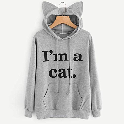 Felpa Zhrui S Medium Grigio Lunghe Pullover 2xl Da Maniche A Dimensione Donna Cappuccio Donna colore Taglia Nero Cat Con I'm p4rBwdq4