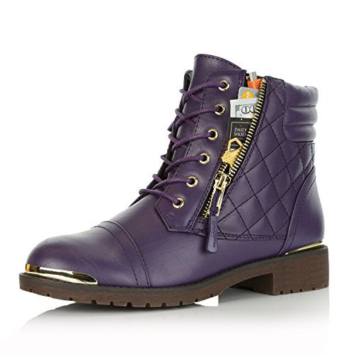 DailyShoes Women's Military Lace Up Buckle Combat Boots Ankle High Exclusive Credit Card Pocket Frontal Metal Bootie, Purple PU, 6.5 B(M) US