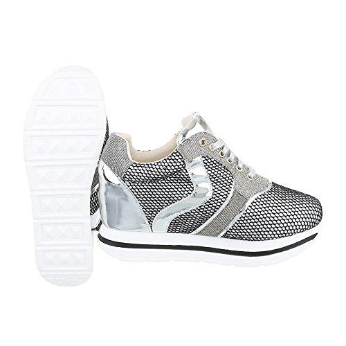 Ital-Design Low-Top Sneaker Damenschuhe Low-Top Keilabsatz/Wedge Sneakers Schnürsenkel Freizeitschuhe Silber