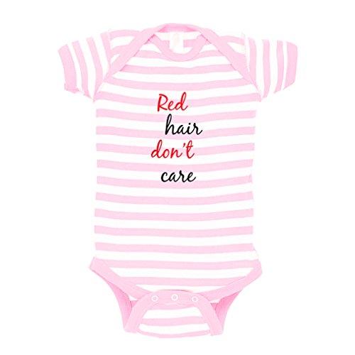 Red Hair Don'T Care Baby Kid Stripe Fine Jersey Bodysuit Soft Pink 12 Months (Red Fine Stripe)