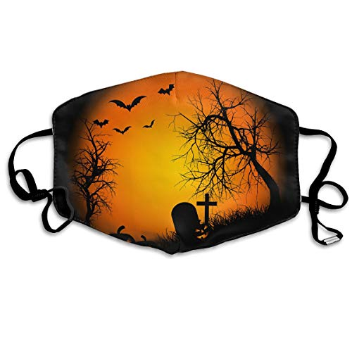 Unisex Unique Mouth Mask - Happy Halloween Bat Pumpkin Polyester Anti-dust Masks - Fashion Washed Reusable Face Mask for Outdoor Cycling -