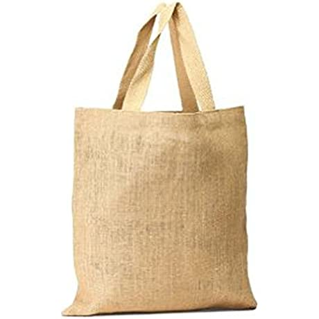 Pack Of 50 UnLaminatedJute Bag Natural Tote Bag With Cotton Webbed Handles All Natural Color Size 16 W X 15 H Holiday Gift Bag Sale