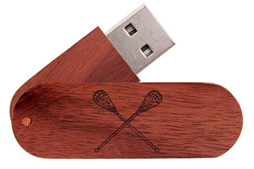 16GB USB Flash Drive Mahogany NDZ Lacrosse Sticks Crossed
