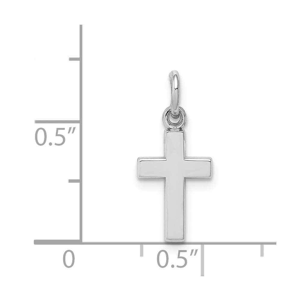 Jewel Tie 14K White Gold Cross Charm 0.79 in x 0.35 in