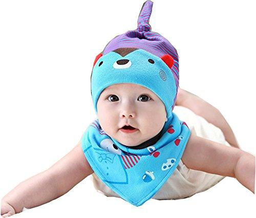 1344a766d Gongzhumama Baby Hats Sleeping Cap Cotton Cap With Bibs (Blue)