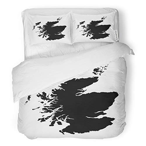 - SanChic Duvet Cover Set Outline Scotland Map High Detailed Silhouette Islands Glasgow Decorative Bedding Set with 2 Pillow Cases Full/Queen Size