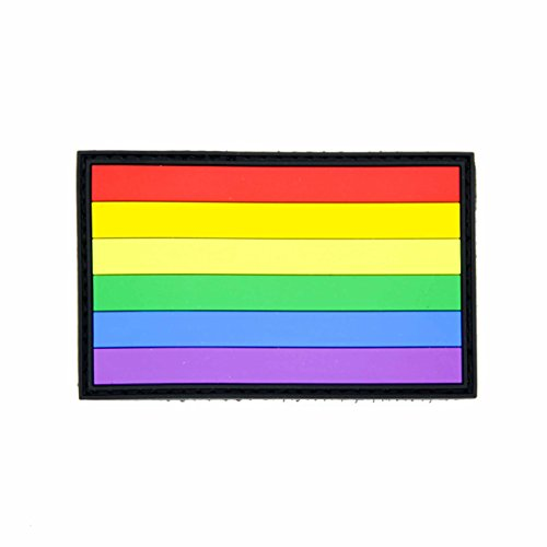 Rainbow LGBT Gay Pride Flag PVC Hook & Loop Decorative Morale Patch 3.15 x 1.97
