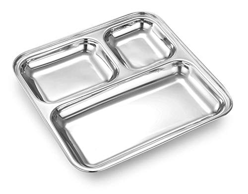 Stainless Steel Square Small Dinner Plate with 3 Sections Divided Mess Trays for Use Kitchenware
