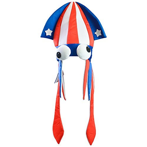 Squid Hat - July 4th Hats - Fourth of July Accessories - Fish Hat by Funny Party Hats - Funny Beach Themed Costumes