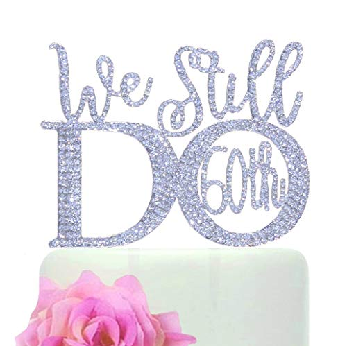 (60th Anniversary cake topper in gorgeous silver crystal rhinestones