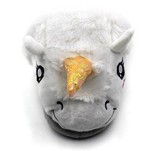 Kvinnor Plysch Unicorn Djur Tofflor För Vuxna: Varma Nyhet Hus Tofflor Vita