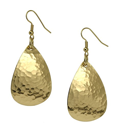 (Medium Hammered Tear Drop Nu Gold Brass Earrings By John S Brana Handmade Jewelry Brass Earrings)