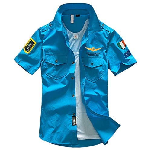 TiItstoy Men's Casual Pure Color Embroidery Military Shirts Pocket Short Sleeve T-Shirt Tops (Light Blue,XXXX-Large)