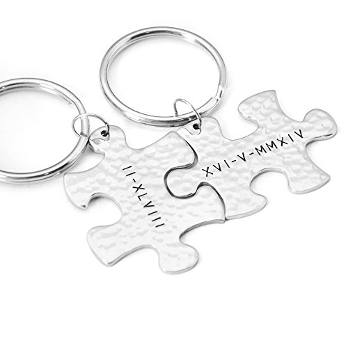 Personalized Puzzle Keychains,Custome Roman Date Key Ring,Key Holder,Best Gift for Lovers