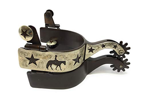 AJ Tack Wholesale Pleasure Riding Horse Show Spurs Silver Engraving Cut Out Stars Brown Ladies ()