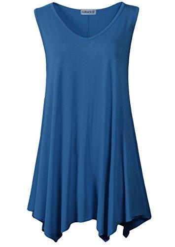 LARACE Women V-Neck Tank Top Tunic for Leggings(L, Steel Blue)