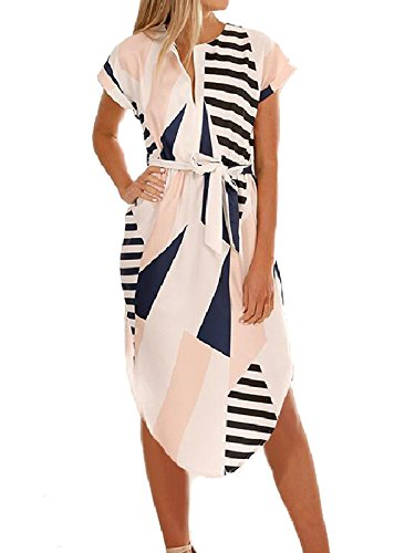 (PORALA Womens Summer Dresses V-Neck Casual Geometric Pattern Midi Floral Print Belted Dress)