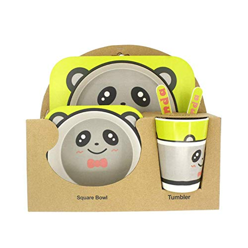 5 Pcs Animal Shaped Bamboo Fiber Portable Children's Cutlery Set Toddler Feeding Dishes Kids Dinnerware Gift Sets Panda