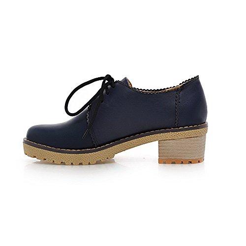 Amoonyfashion Womens Lace Up Pu Rond Fermé Orteil Chaton Talons Solides Pompes-chaussures Bleu