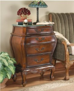 Hand Carved Bombe Chest (French Furniture Hand-carved hardwood Antique Replica Marble-Topped Bombe Chest)
