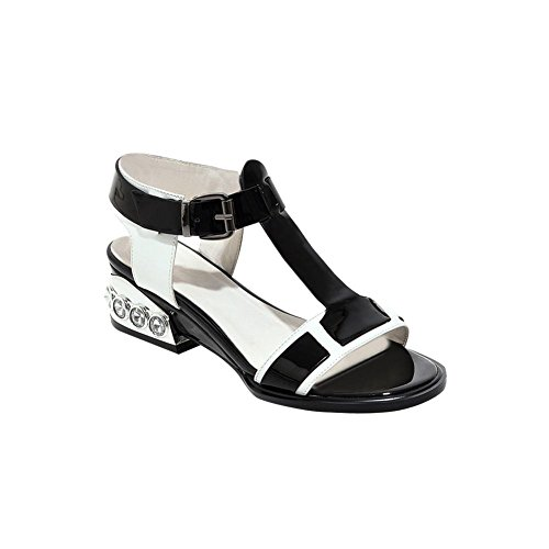 Carolbar Womens Assorted Colors T-strap Buckle Rhinestone Mid Heel Sandals Black (Patent Leather) pJlKS8vSEU