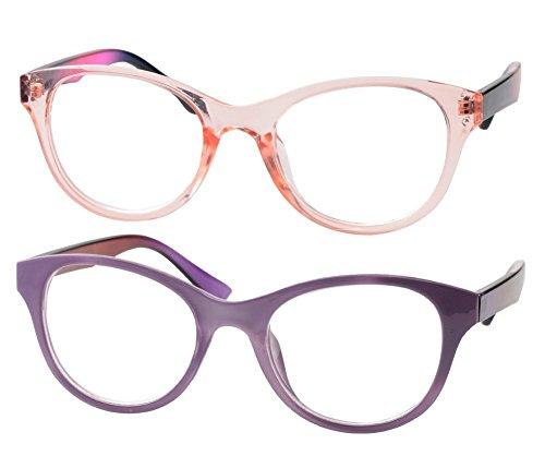 SOOLALA Lovely Hit Color Oversized Clear Lens Eye Glasses Frame Wide Reading Glasses, PrTraPink, ()