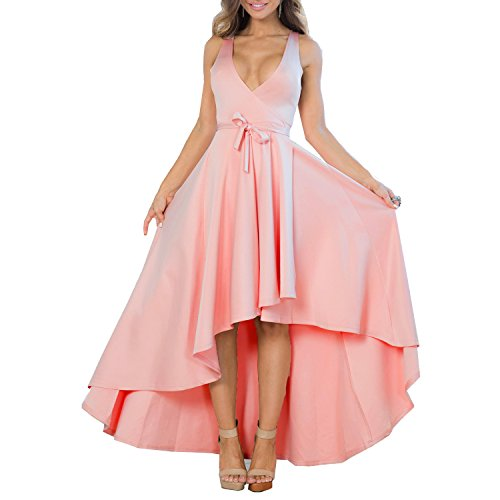 Light Pink Cocktail Dresses - XIONGMEI Women's Sexy V Neck Sleeveless High Low Hem Cocktail Evening Party Dress(Pink,L)