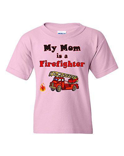 Diy Bodysuit Costume (My Mom is a Firefighter Short Sleeve Tee T Shirt, 100% Cotton, Organic Ink (5/6T, Pink))