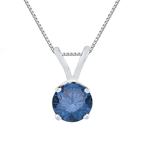3/8 ct. Blue – I1 Round Brilliant Cut Diamond Solitaire Pendant with Chain in 14K White Gold
