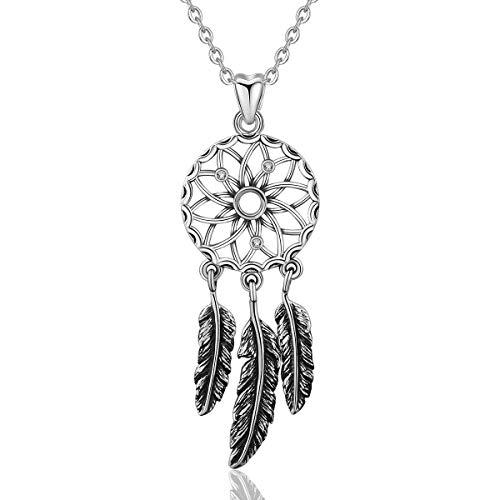 EUDORA Vintage Sterling Silver Dreamcatcher Necklace Good Luck Dangling Feather Pendant, 18