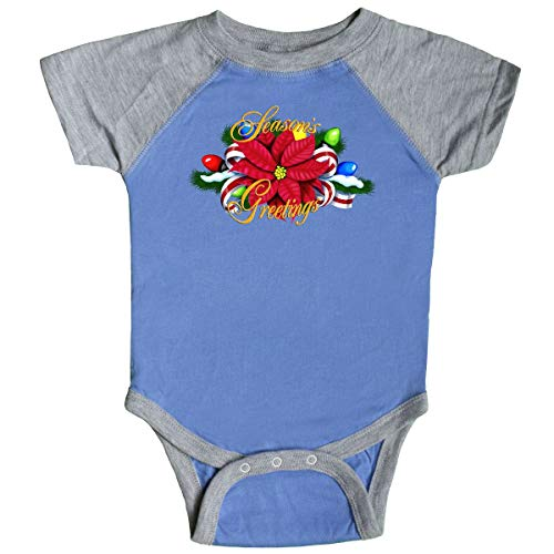 inktastic - Poinsettia Infant Creeper 18 Months Blue and Heather -